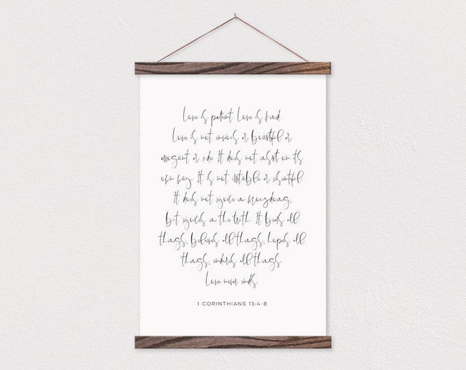 Love is Patient Bible Verse Canvas Print with Wood Poster Hanger