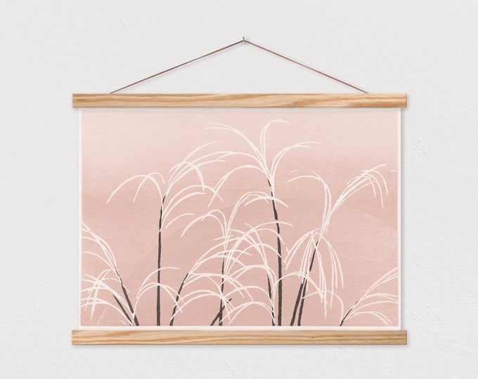 Moon And Grasses - Pink Abstract Natural Art - Warm Tones ART