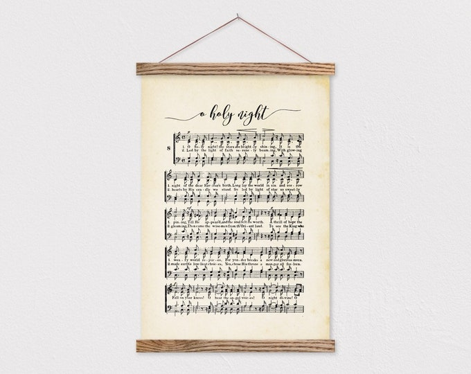 Magnetic Poster Hanger- Oh Holy Night Music Sheet Wall Hanging- Farmhouse Christmas Decor- Christmas Decor- Christmas Music