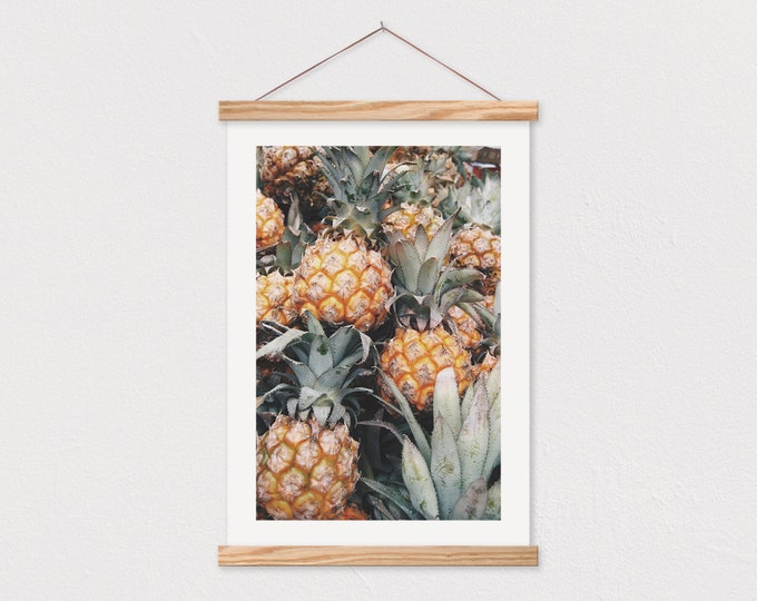 Pineapple Sqaud Canvas Print with Wood Magnetic Poster Hanger