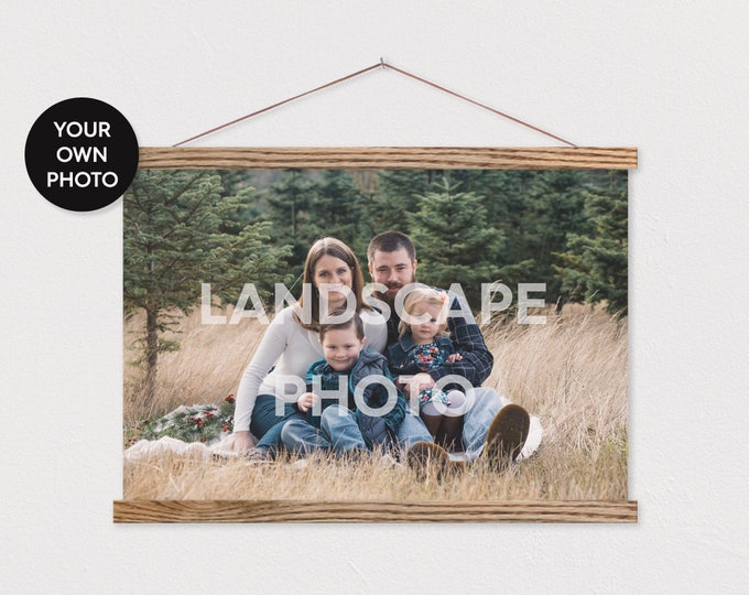Poster Hanger- Custom Landscape Photo Printed on Canvas with Wood Magnetic Poster Scroll Frame-Your own Pix -Family Room Decor ART