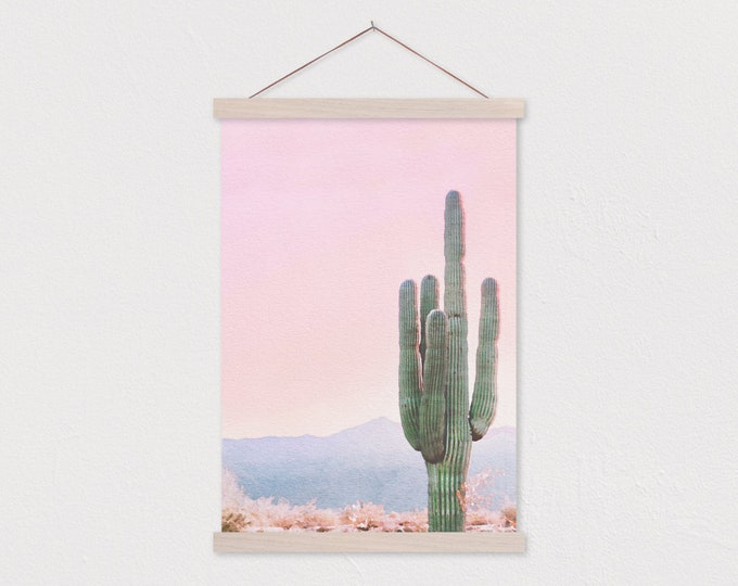 Cactus Watercolor with Pink Sky - Printed on Canvas with Hanging Frame