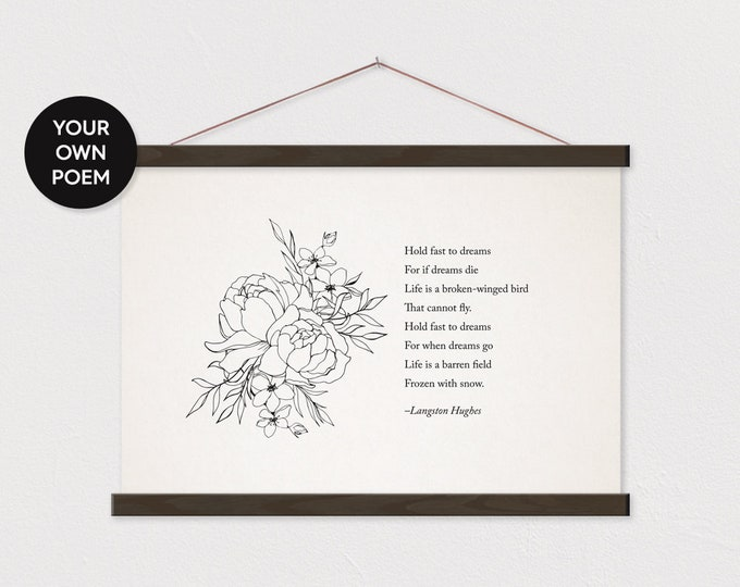 Custom Poem Gift with Peony Flower Drawing Canvas with Hanger Frames - Any Pix or Text ART