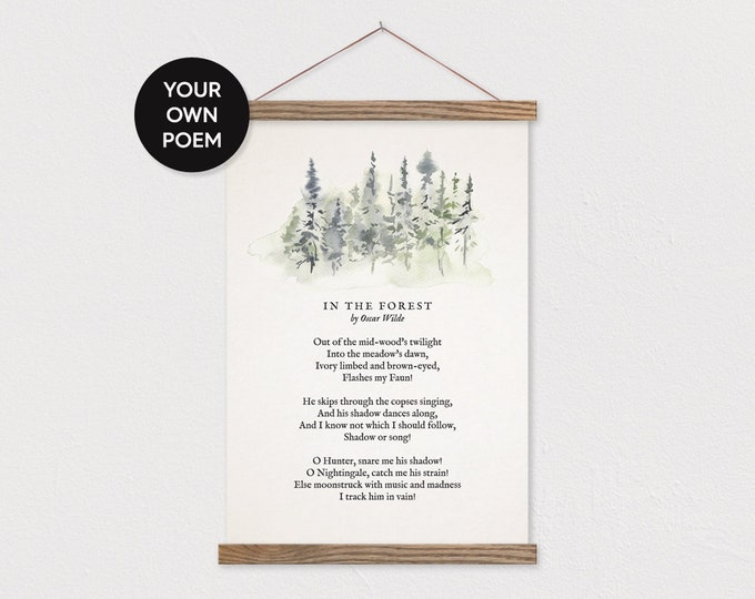 Custom Poem with Forest Tree Art - Hanging Canvas Art