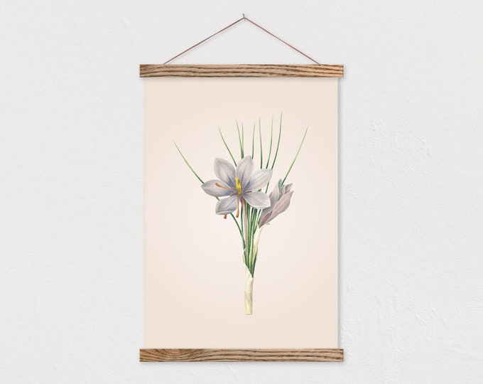 Vintage Botanical Purple Lily Canvas with Wood Magnetic Print Hanger
