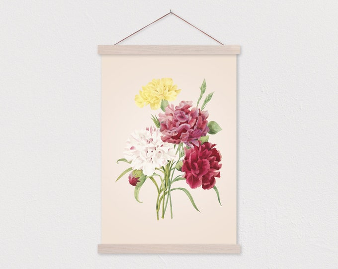 Vintage Botanical Carnation Canvas Print with Wood Magnetic Poster Hanger