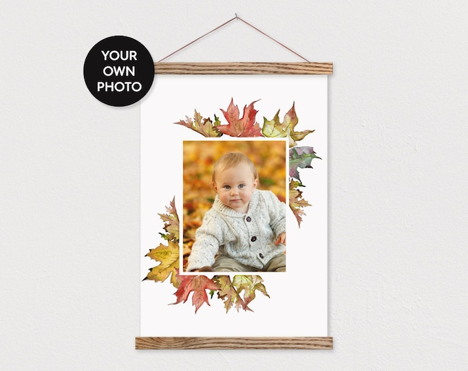 Custom Photo Printed on Canvas with Fall Leaf Border and Wood Magnetic Frame Sticks