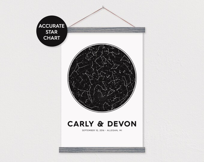 Custom Wedding Star Chart with Hanger Frames - Accurate Star Map Date & Location
