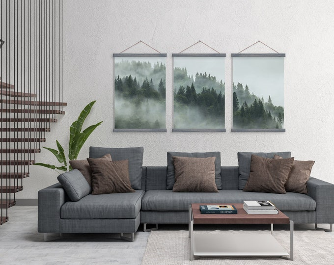 Set of 3 Pine Tree Fog Trio on Canvas with Magnetic Wooden Poster Hangers- Poster Wall Hanging- Poster Frame- Nature Wall Decor- Pine Tree
