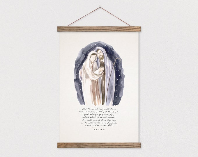 Nativity Watercolor - Mary Joseph Jesus - Luke 2:10-11 Christmas Painting Print