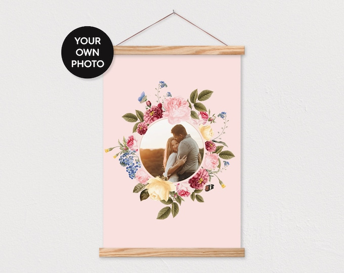 Garden Circle on Blush Background with Magnetic Frame Sticks