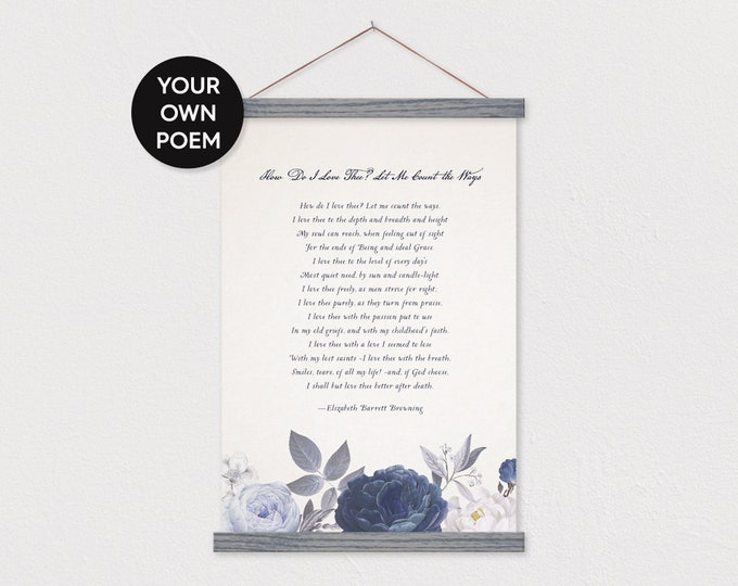 Custom Poem with Blue Roses Art Print on Canvas with Hanger Frames