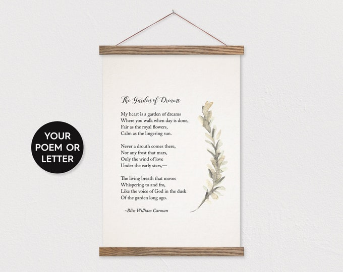 Poem Gift with Watercolor Sprig Greenery Art - Optional Hanger Frame