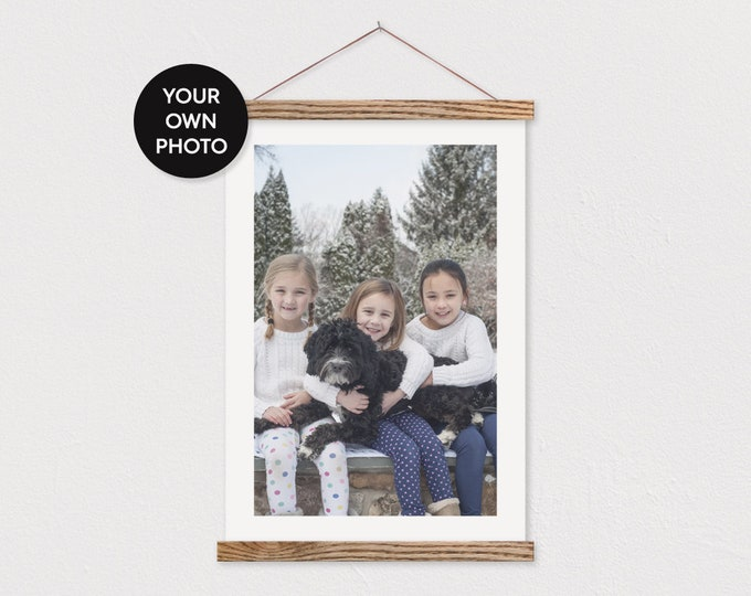 Custom Photo with White Border printed on Canvas with Magnetic Frame Sticks- Custom Photo- Christmas Gift-Family Photo