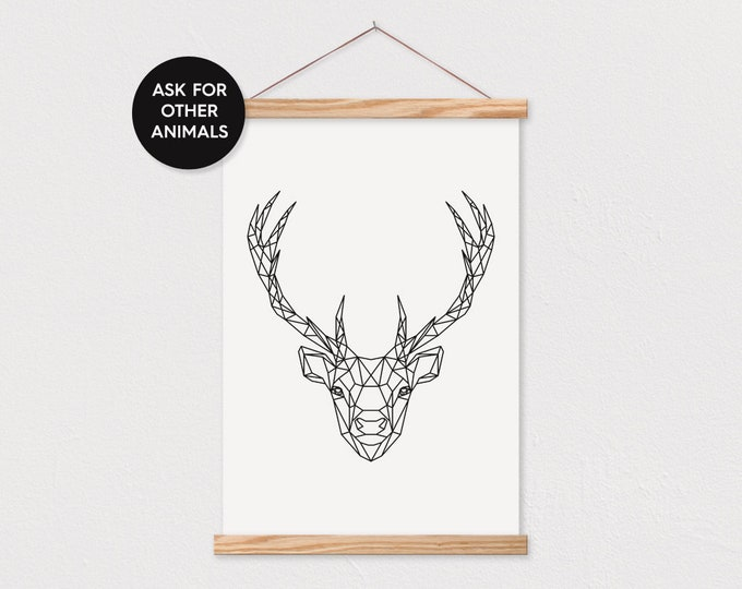 Geometric Deer OR Any Animal! Scandinavian Kid's Room Decor