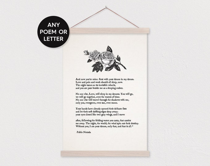 Custom Love Letter Canvas Print with Rose Details- Wood Poster Hanger- Flat Canvas-Gift for Her- Frame Sticks- Custom Love Letter