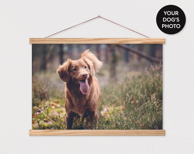 Your own Dog Photo Landscape Printed on Canvas with Wood Magnetic Frame Sticks