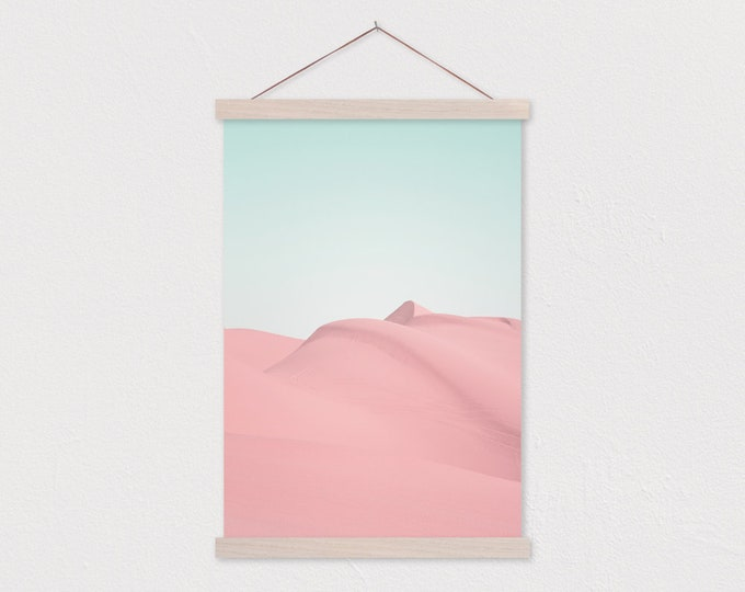 Pink Sand Dunes Canvas Print with Wood Magnetic Poster Hanger