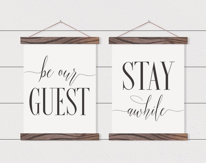 Be Our Guest  Stay Awhile- Set of 2 Canvas Posters with Hanging Wood Frame - Wooden Poster Hanger- Disney Wall Decor- Calming Wall Decor-