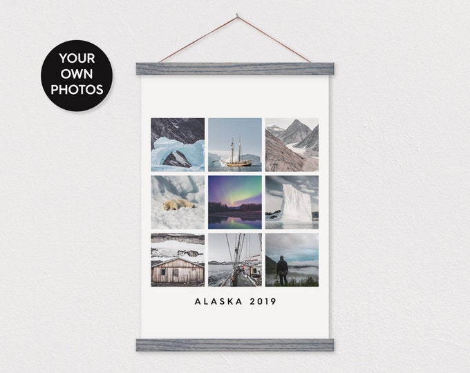 Instagram Style Collage on Canvas - Print Your Trip Photos Pix or Family Photos