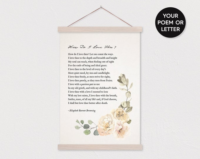 Watercolor Floral Poem Gift - Print Your Poem Wall Hanging