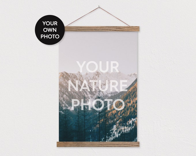 Custom Nature Photo in Portrait Printed on Canvas with Wood Magnetic Poster Scroll Frame