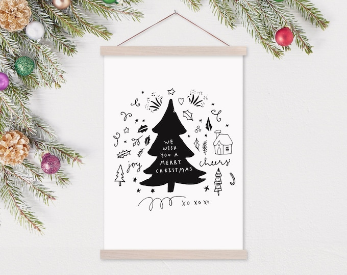 Christmas Doodle Tree - Kids Holiday Art Black and White