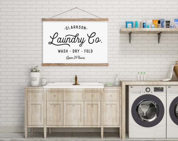Laundry Co - Farmhouse Sign - Customized Hanging Canvas Pix with Magnetic Hanger Frames ART