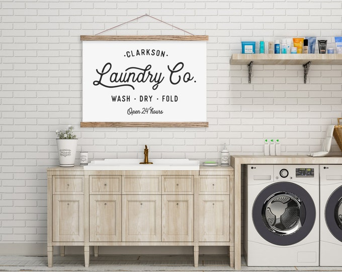 Laundry Co - Farmhouse Sign - Customized Hanging Canvas with Magnetic Hanger Frames ART