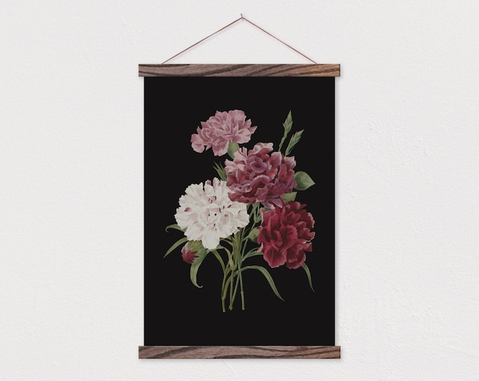 Dark Vintage Botanical Carnation Canvas Print with Wood Magnetic Frame Rails