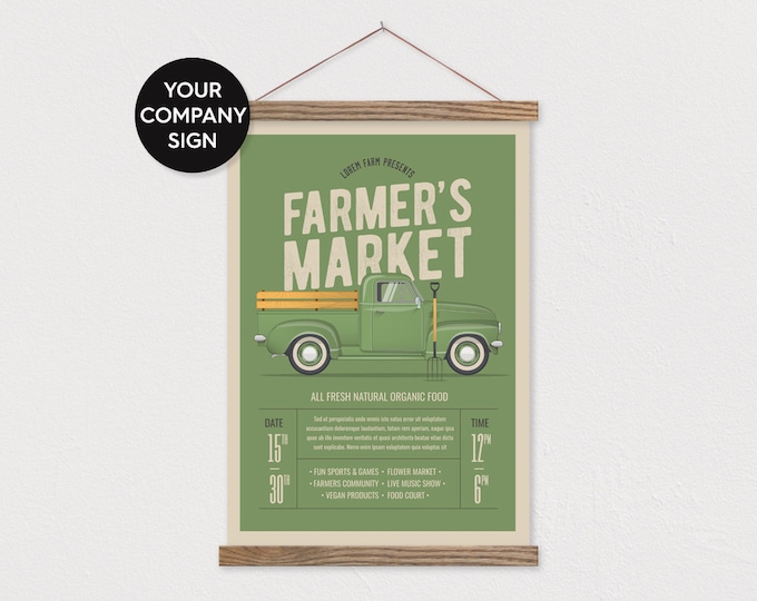 Your Farmer's Market Sign -Upload your Own Pix - Canvas with Frame