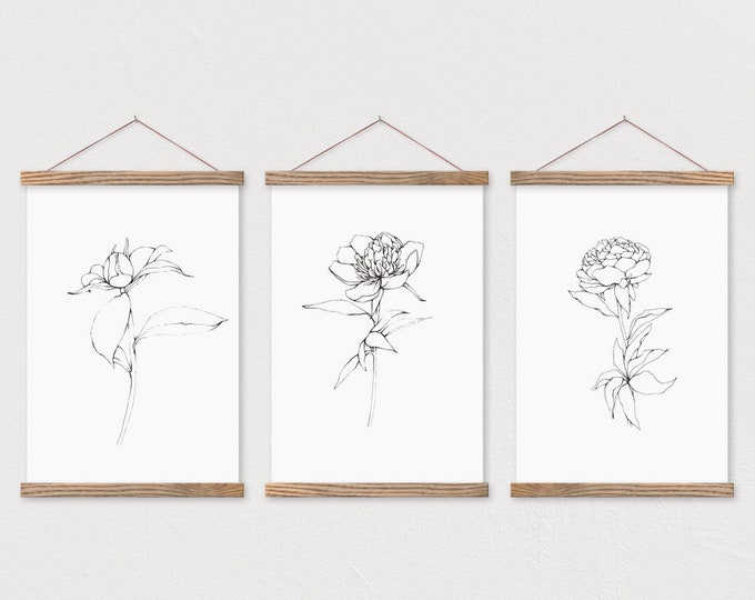 Peony Sketch Trio on Canvas with Magnetic Wooden Frame Sticks