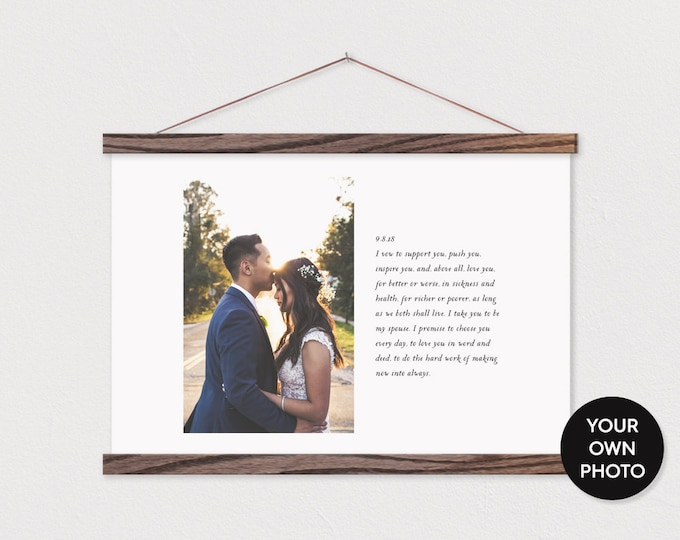 Custom Wedding Photo and Vows on Canvas with Wood Magnetic Poster Hanger PIX- Wedding Gift- Gift for her- Anniversary Gift- Home Decor ART