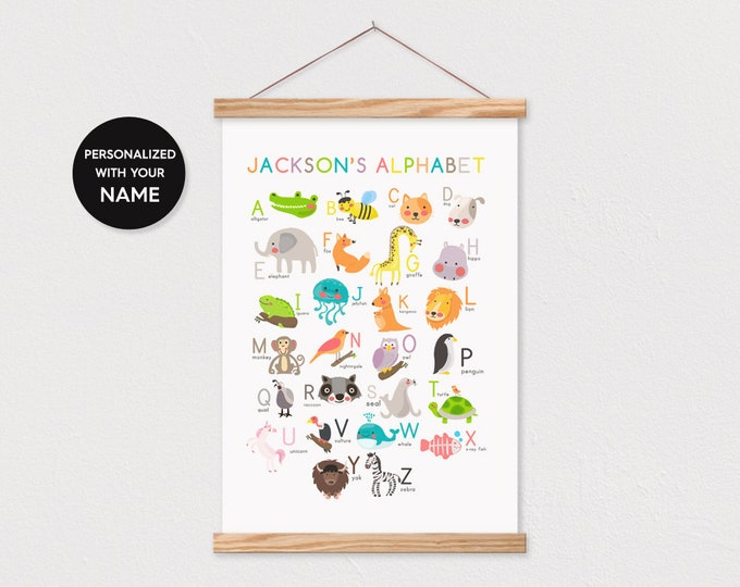 Animal Alphabet Poster Pix Personalized with Child's Name - Includes Wood Frame