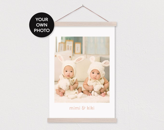 Custom Baby Photo and Names on Canvas with Wood Magnetic Poster Scroll Frame