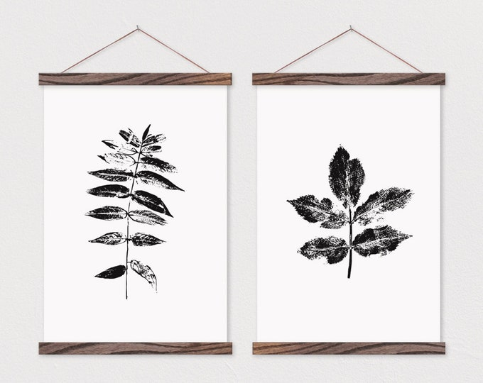 Wooden Poster Hanger- Poster Set- Set of 2 Leaf Impressions on Canvas with Magnetic Wooden Poster Hanger- Poster Wall Hanging- Poster Frame