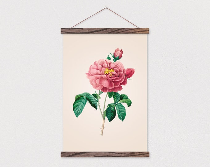 Vintage Botanical Rose printed on Canvas with Wood Magnetic Poster Hanger