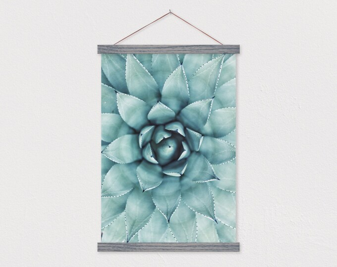 Succulent Burst Canvas Print with Wood Frame Sticks