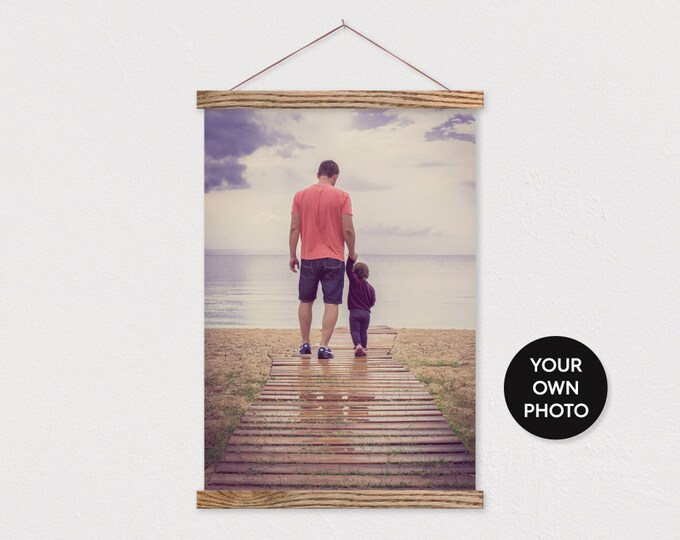 Custom Fathers Day Photo with Wooden Poster Frame