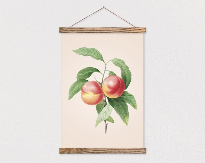 Vintage Botanical Peach Canvas with Wood Magnetic Frame Rails