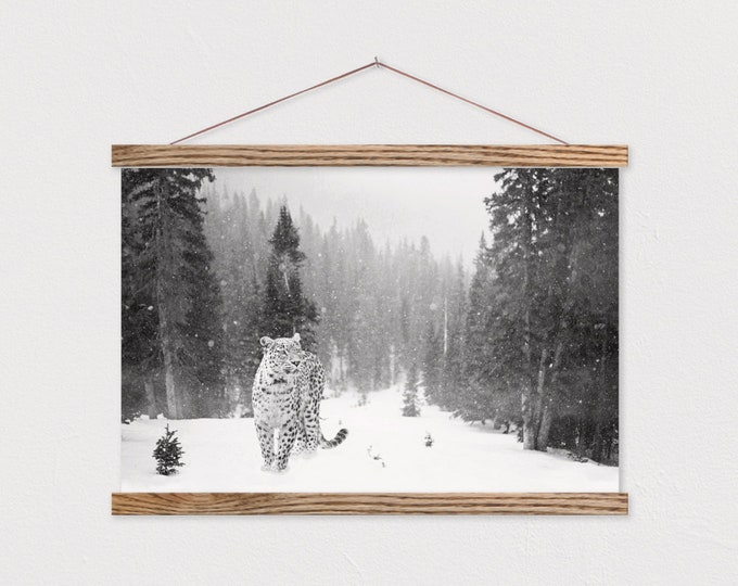 Snow Leopard Canvas Print with Wood Magnetic Poster Hanger
