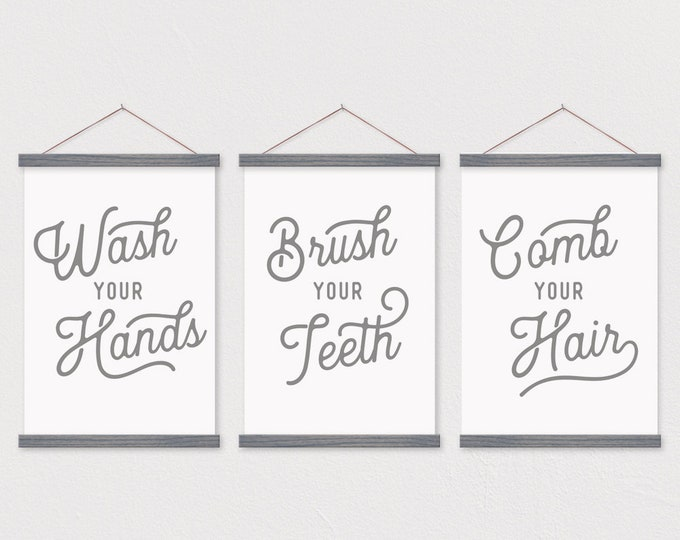 Wash Your Hands - Brush Your Teeth - Comb Your Hair - Bathroom Wall Art Decor