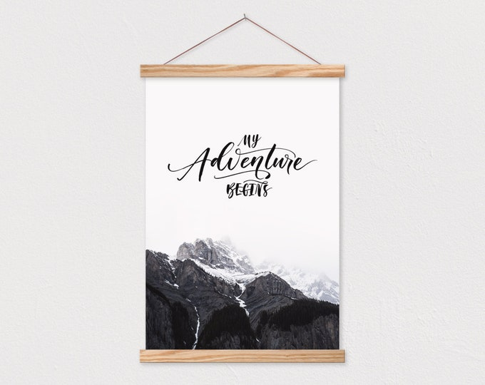 My Adventure Begins Canvas Print with Wood Hanging Picture Frame