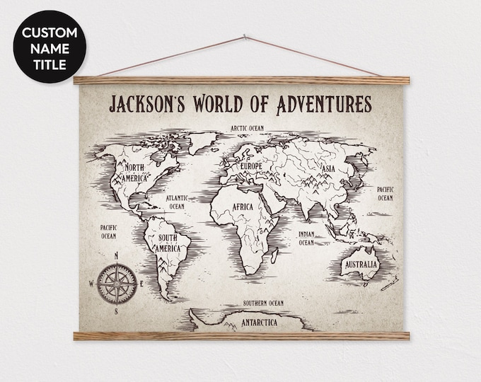 "LARGE 36x48"" Custom World Map on Canvas with Wood Frame - Kids Adventure Map - Vintage Look Pix"
