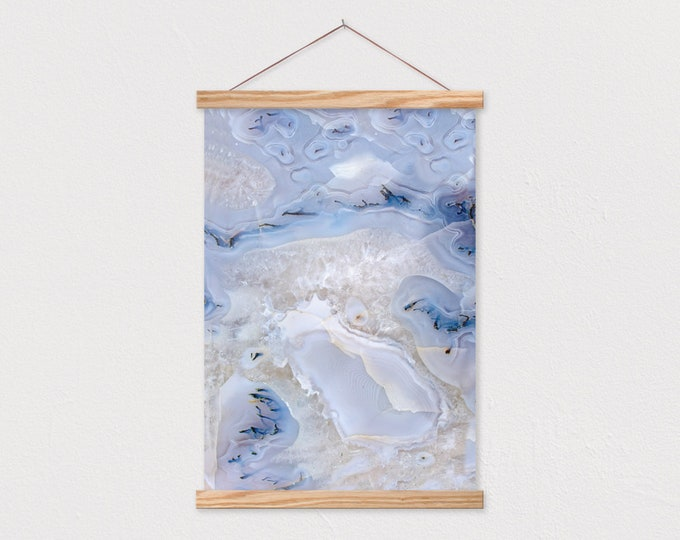 Blue Stone Art Print with Real Wood Magnetic Poster Hanger