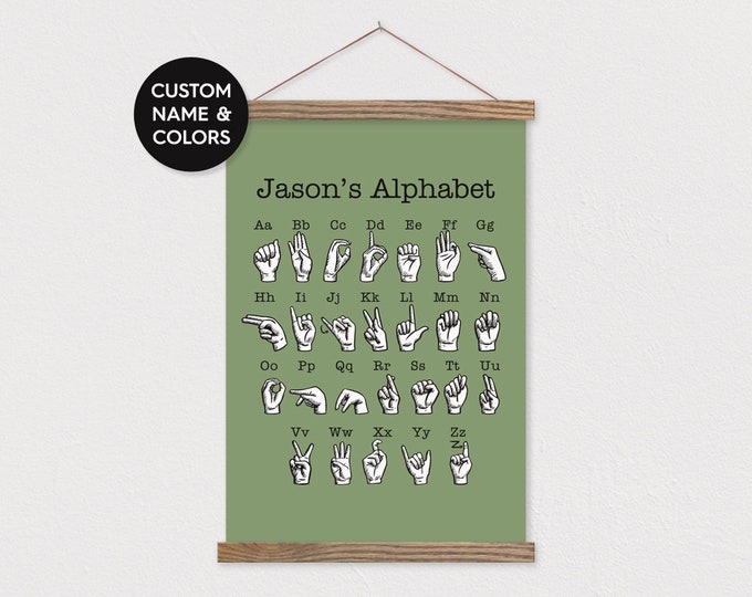 Sign Language Alphabet Chart Pix - Customize with Name & Favorite Colors