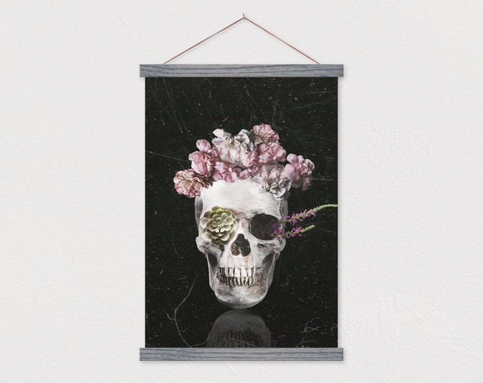 Skull Flowers Halloween Decor - Canvas Art with Hanger Frame