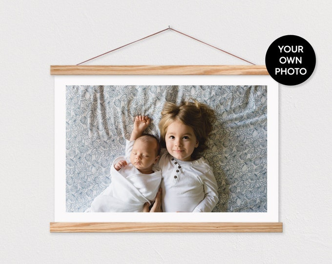 Custom Landscape Photo Printed on Canvas with Wood Magnetic Poster Scroll Frame-Your own Photo PIX- Family Room Decor- Custom Photo ART