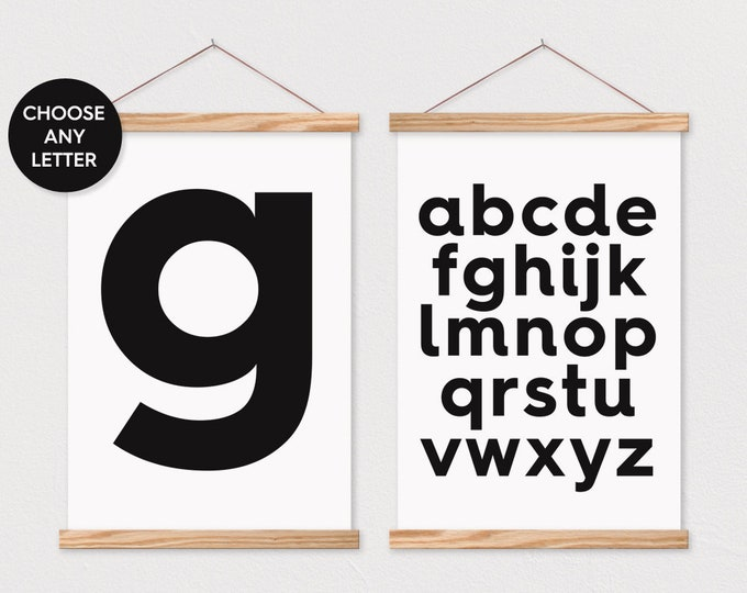 Set of 2 ABC Wall Art- Bold Alphabet Canvas Wall Decor- Poster Hanger- Letter G Wall Art- Nursery Wall Decor- Poster Hanger- Poster Print