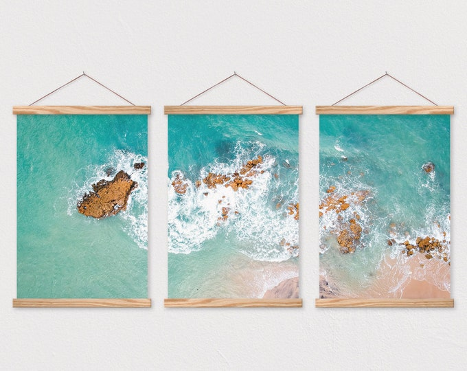 Wooden Poster Hangers- Poster Set- Set of 3 Ocean Ariel on Canvas with Magnetic Wooden Poster Hanger- Poster Wall Hanging- Poster Frame